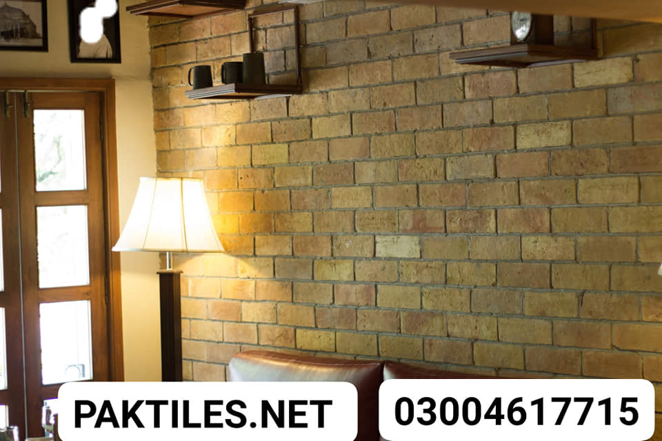 Yellow Gutka Brick Wall Tiles Design Pak Tile yellow brick wall tiles design for living room tv shop lahore