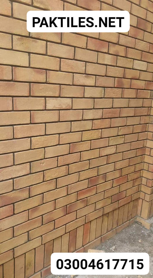 Pak Tile natural colour yellow gutka brick style outdoor wall tiles designs in pakistan