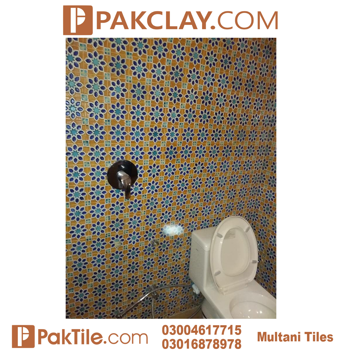 Blue Colors Pak Clay Bathroom Wall Multani Tiles and Naqashi