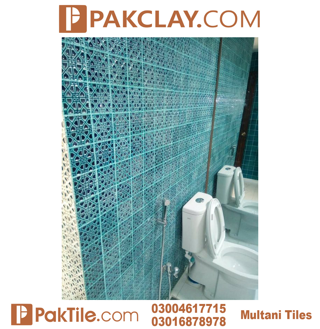Blue Colors Pak Clay Multani Tiles For Bathrooms